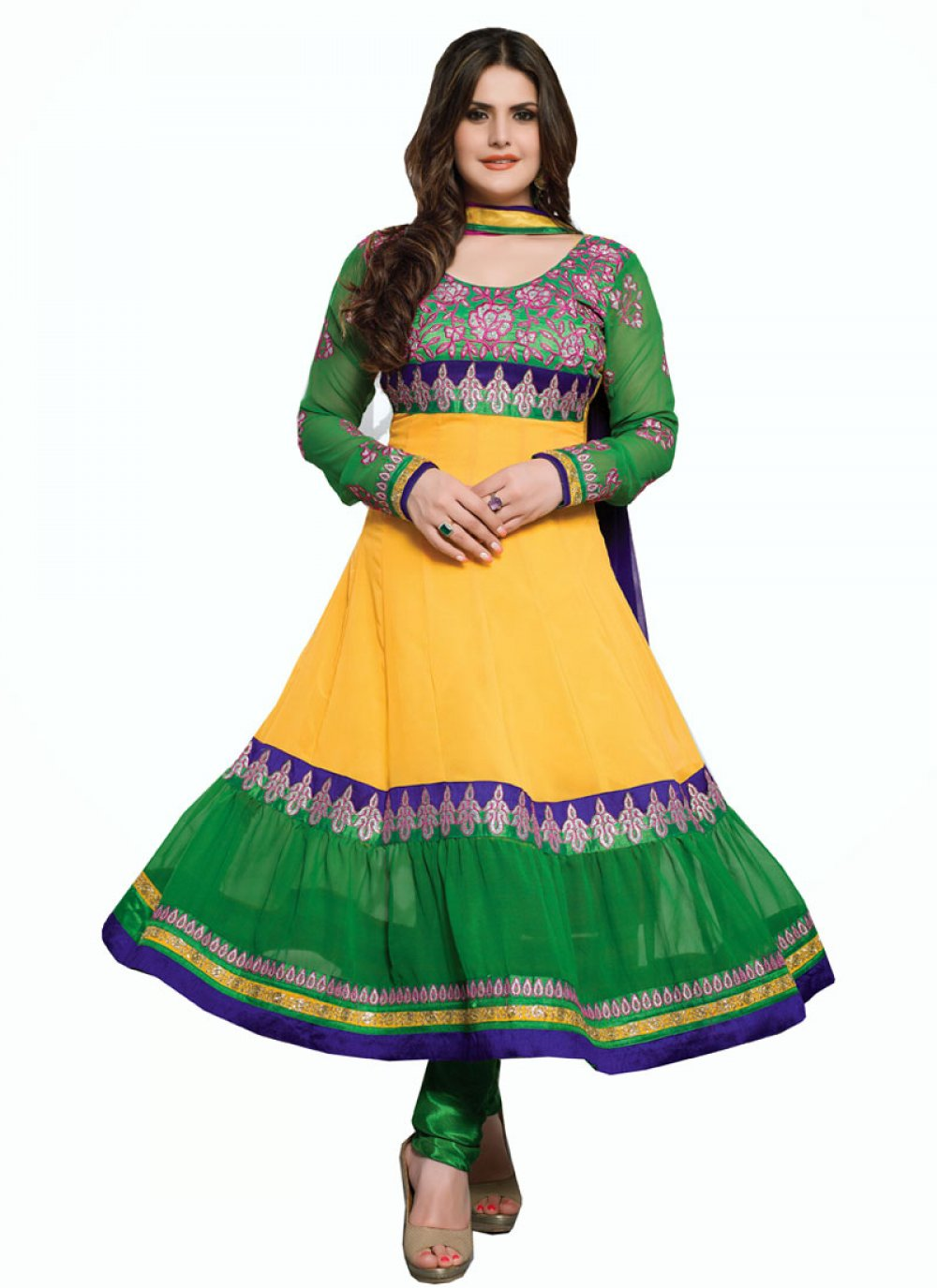 Zareen Khan Mustard And Green Embroidery Anarkali Suit