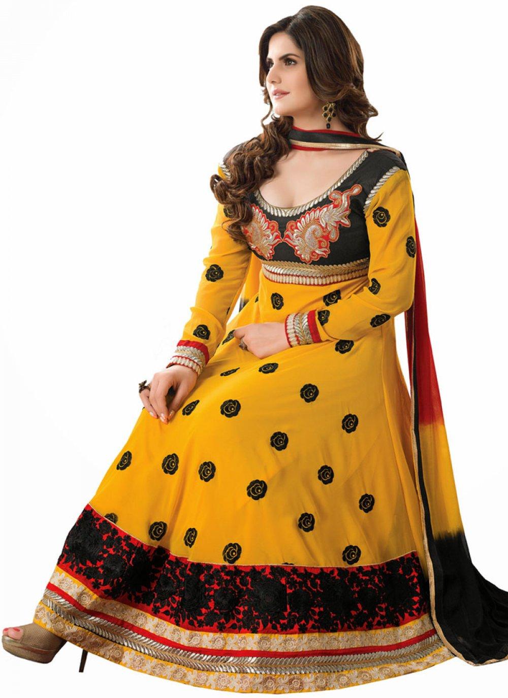 Zareen Khan Mustard Resham Work Georgette Anarkali Suit