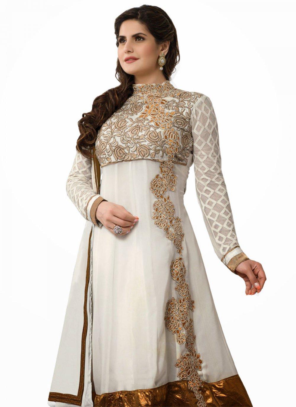 Zareen Khan Off White Zari Work Net Anarkali Suit