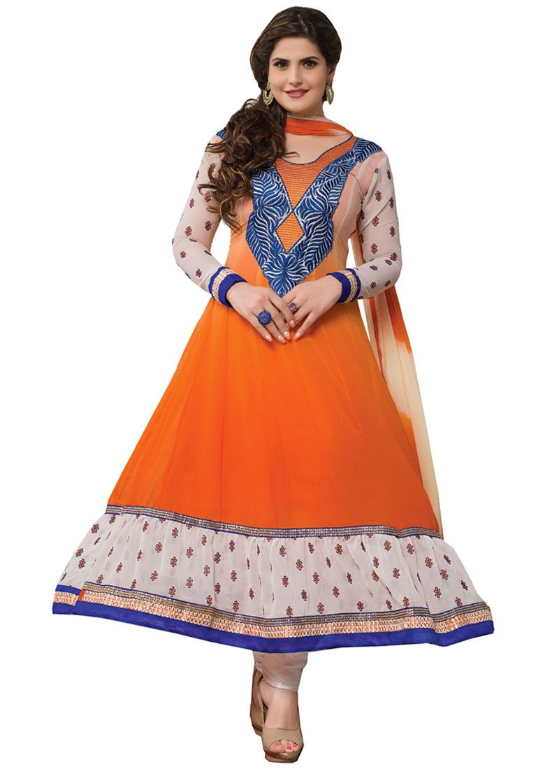 Zareen Khan Orange Embroidery Work Anarkali Suit