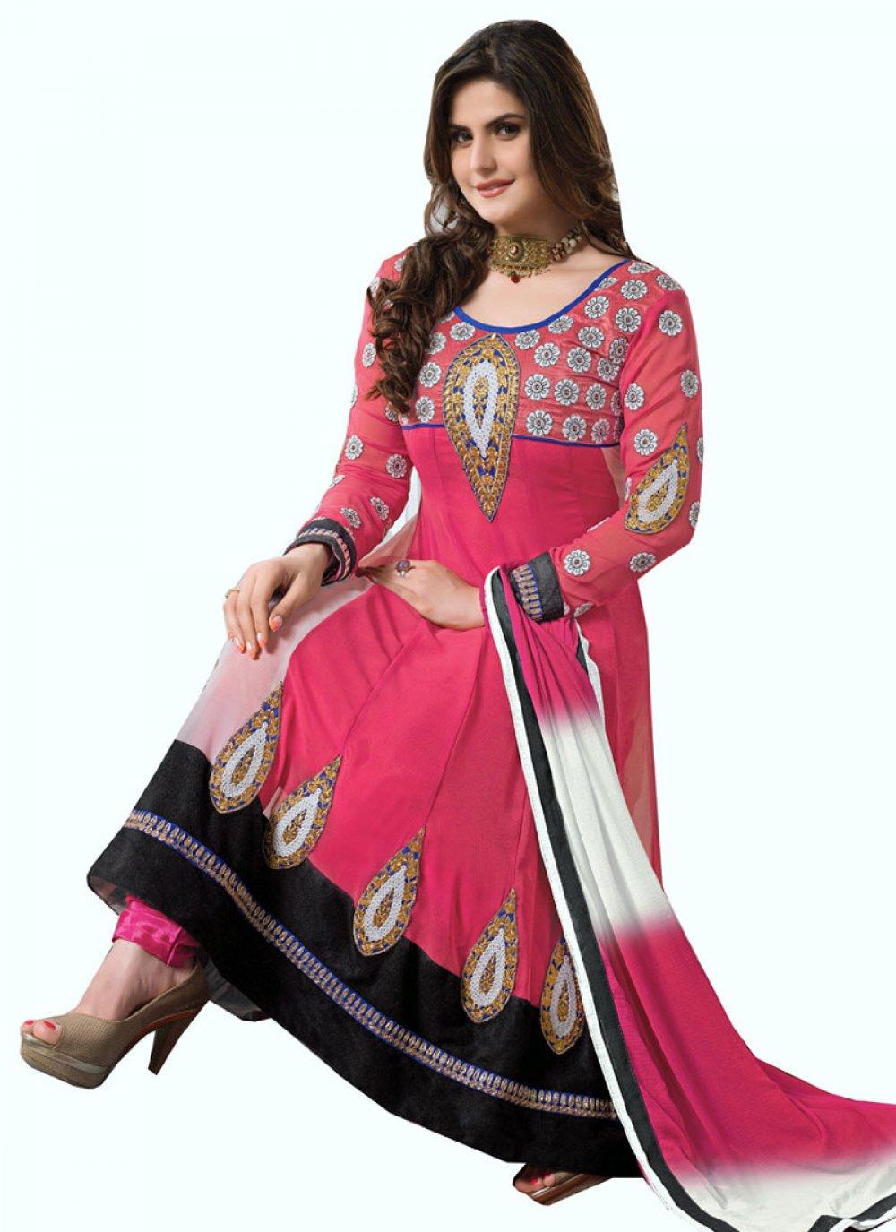 Zareen Khan Pink Embroidery Work Georgette Anarkali Suit