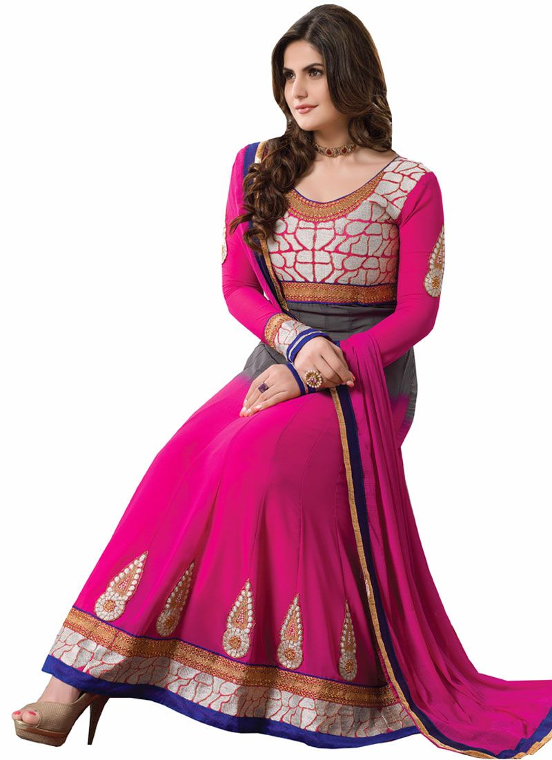 Zareen Khan Pink Patch Border Work Anarkali Suit