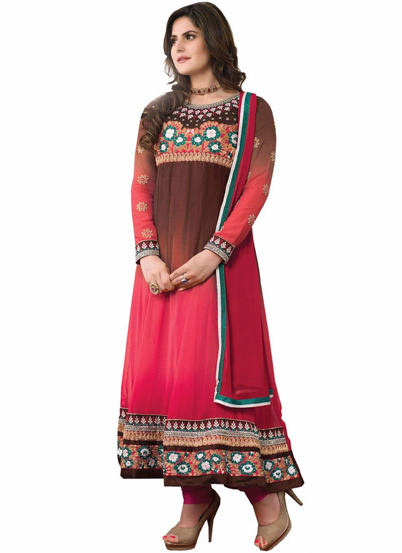 Zareen Khan Red And Wine Embroidery Work Anarkali Suit