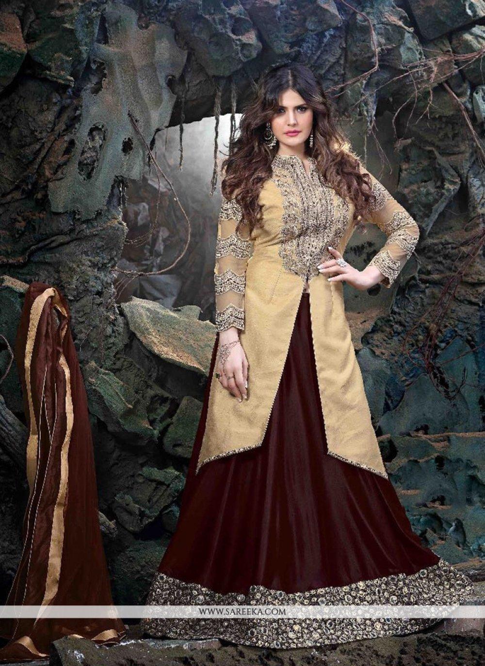 Zarine Khan Brown A Line Lehenga Choli