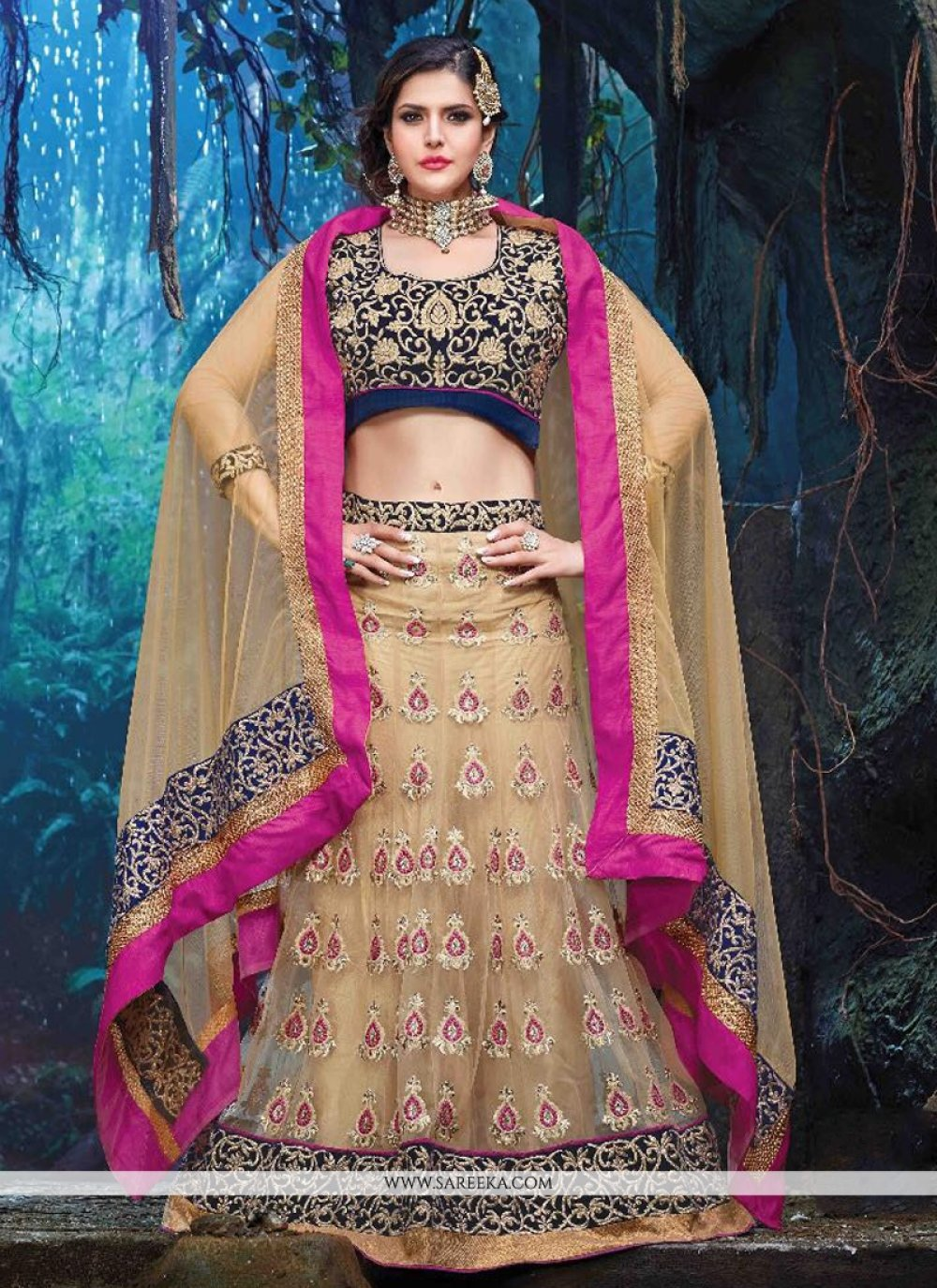 Zarine Khan Resham Work A Line Lehenga Choli