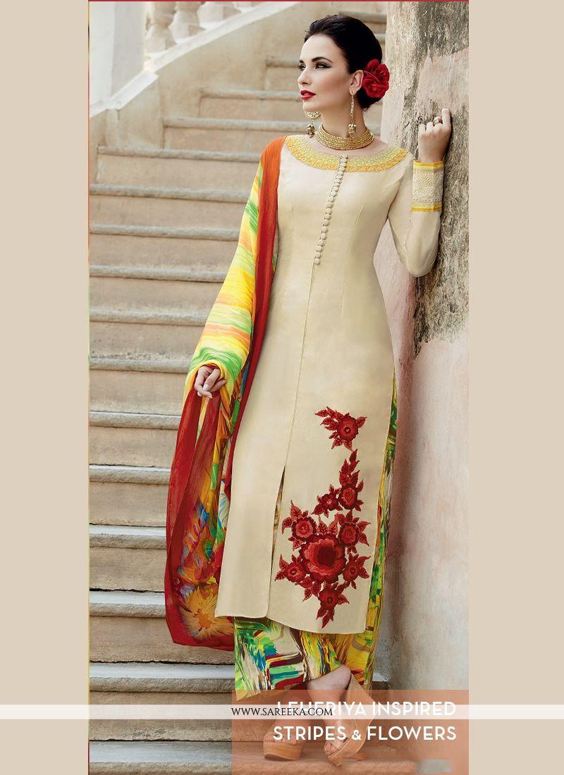 Cotton Satin Beige Designer Palazzo Salwar Suit