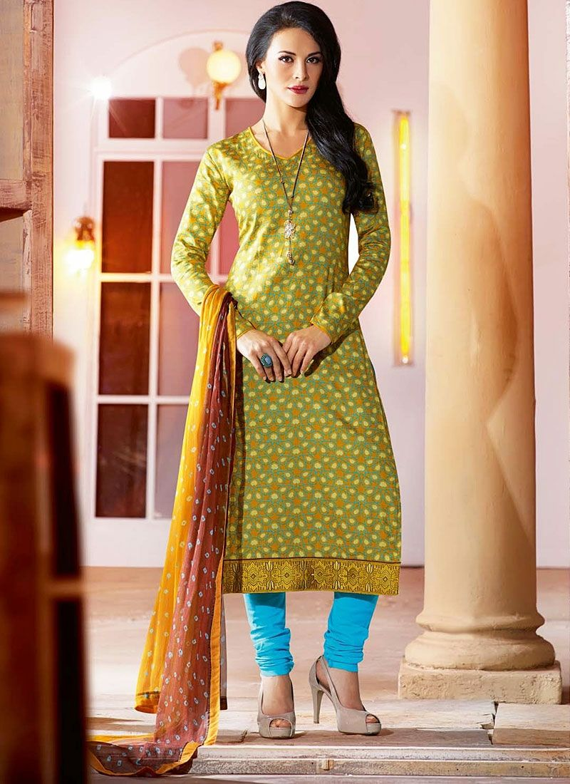 Green Kick Movie Cotton Printed Churidar Suit