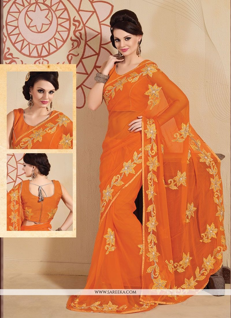 Orange Embroidered Work Faux Chiffon Designer Saree