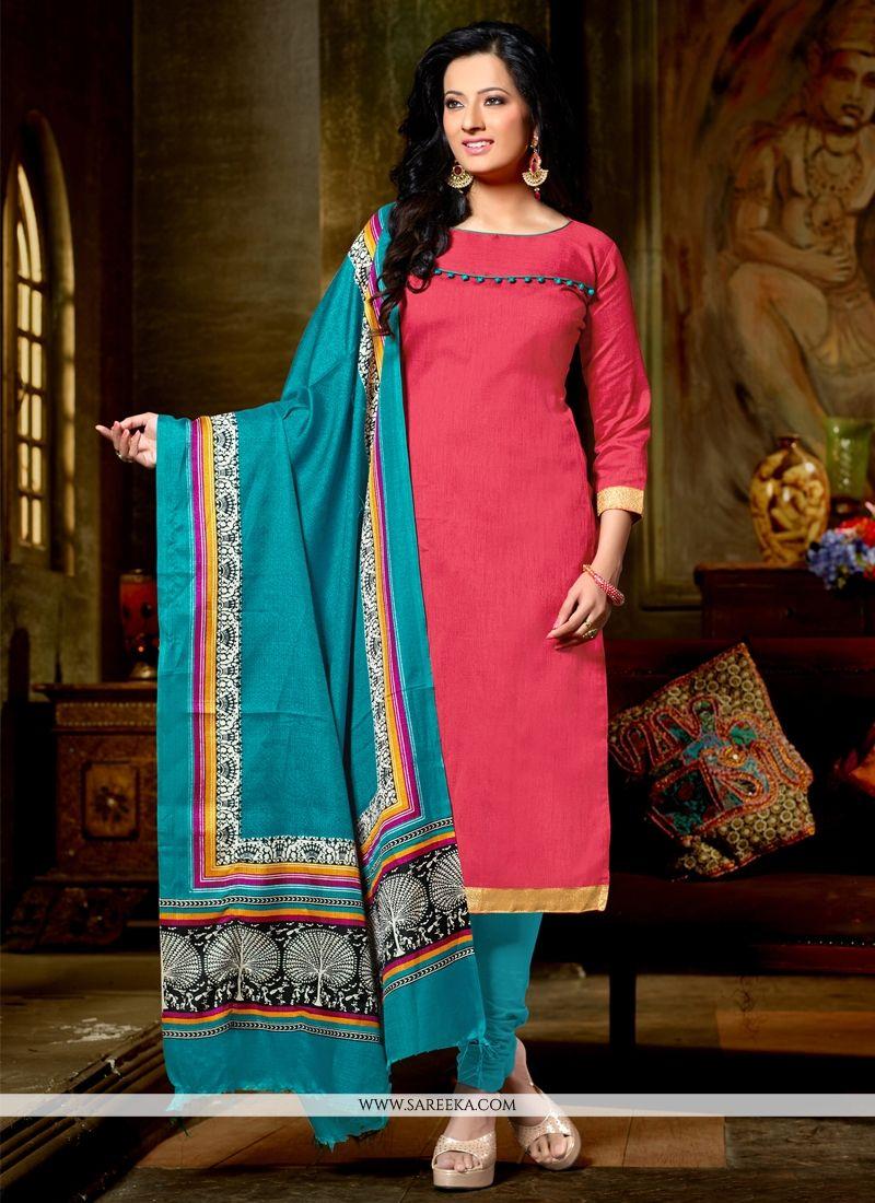 Pink Banglori Silk Churidar Designer Suit