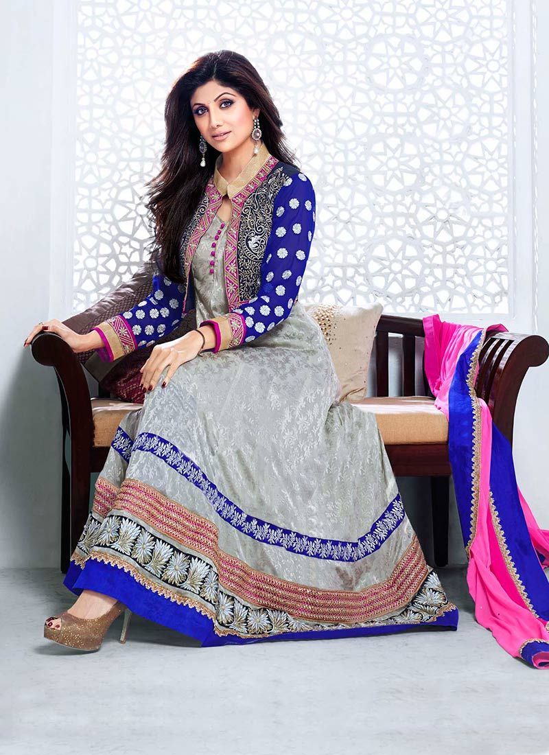 Shilpa Shetty Grey Georgette Anarkali Suit