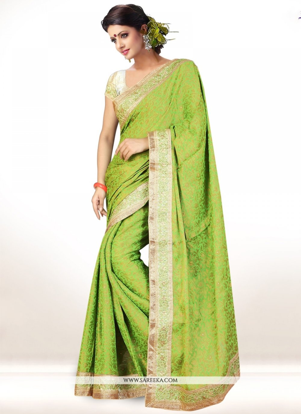 Viscose Green Designer Saree