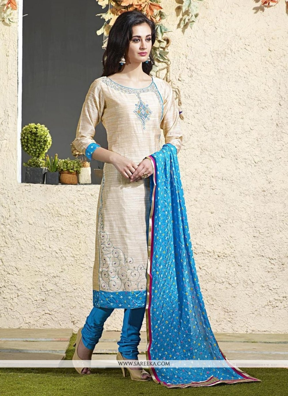 Lace Work Chanderi Cotton Readymade Suit