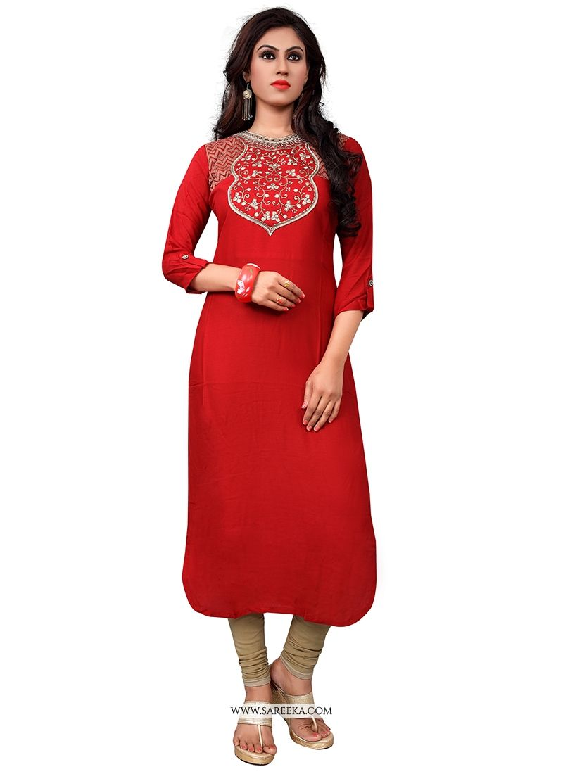 Red Embroidered Work Party Wear Kurti