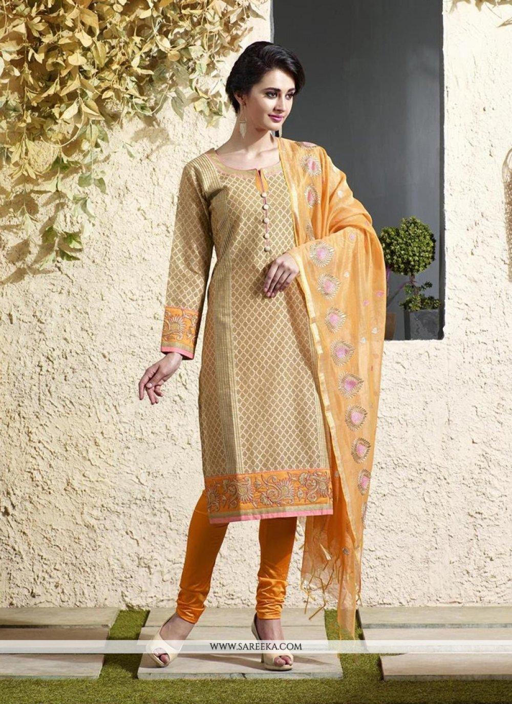Chanderi Cotton Beige Lace Work Readymade Suit