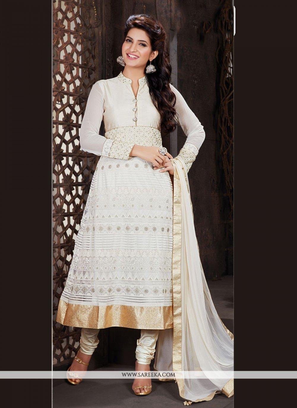 Embroidered Work White Churidar Designer Suit