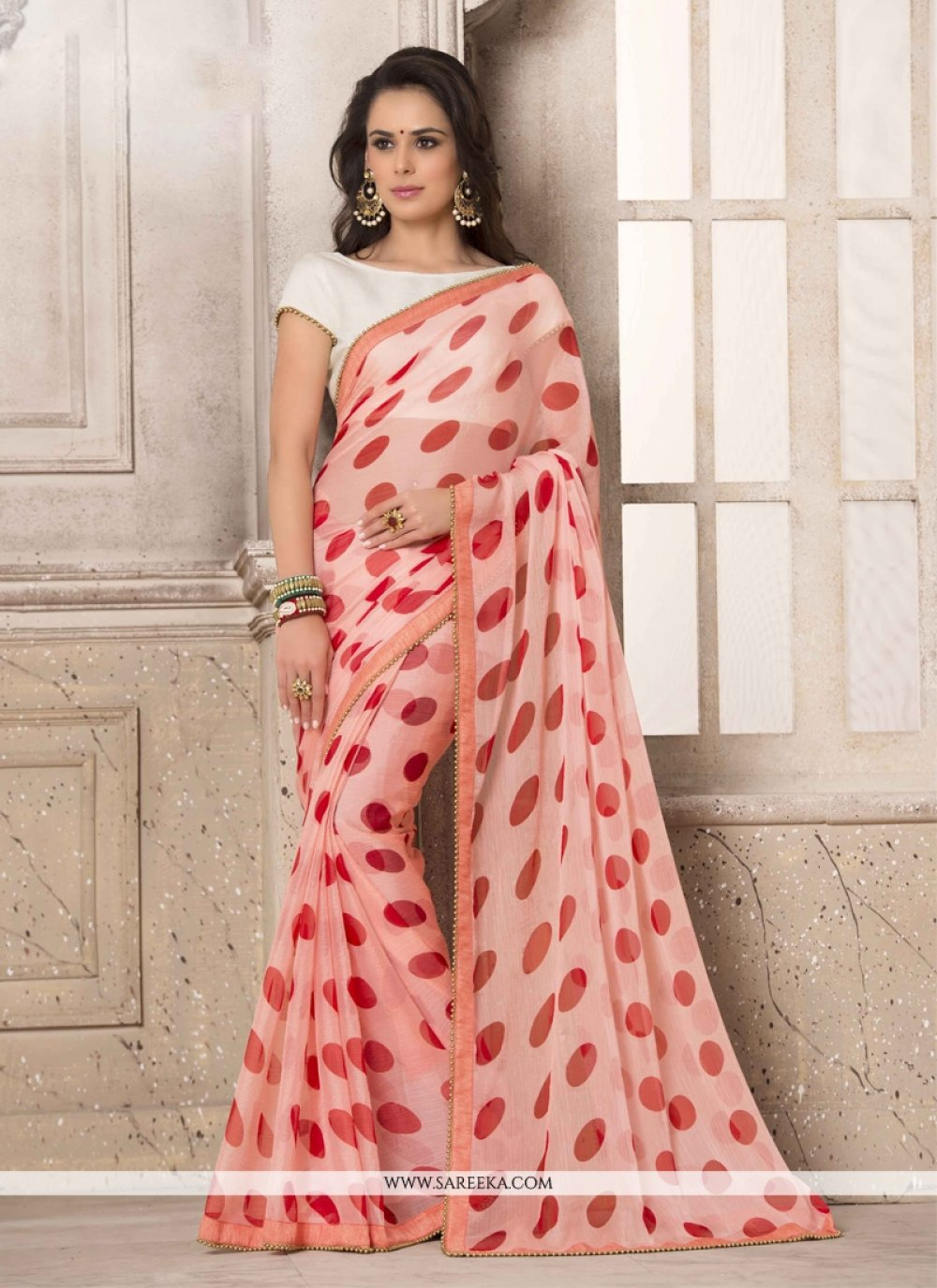 Rose Pink Printed Saree