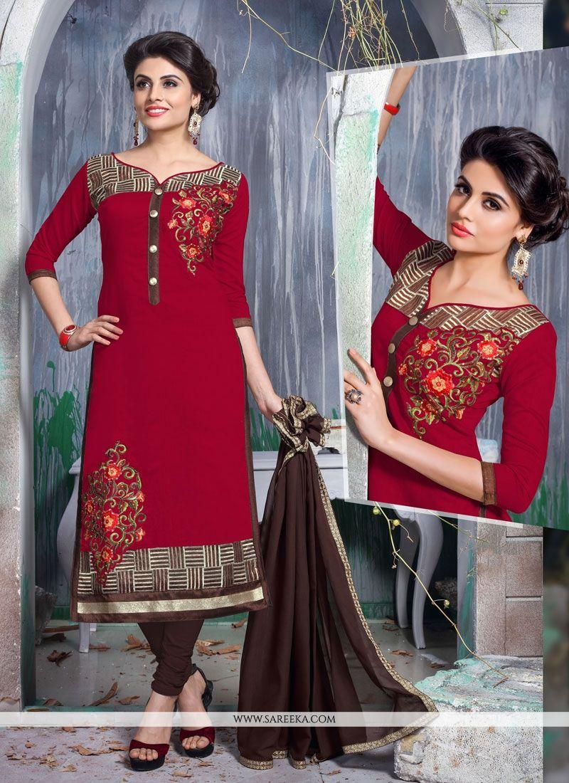 Chanderi Cotton Churidar Designer Suit