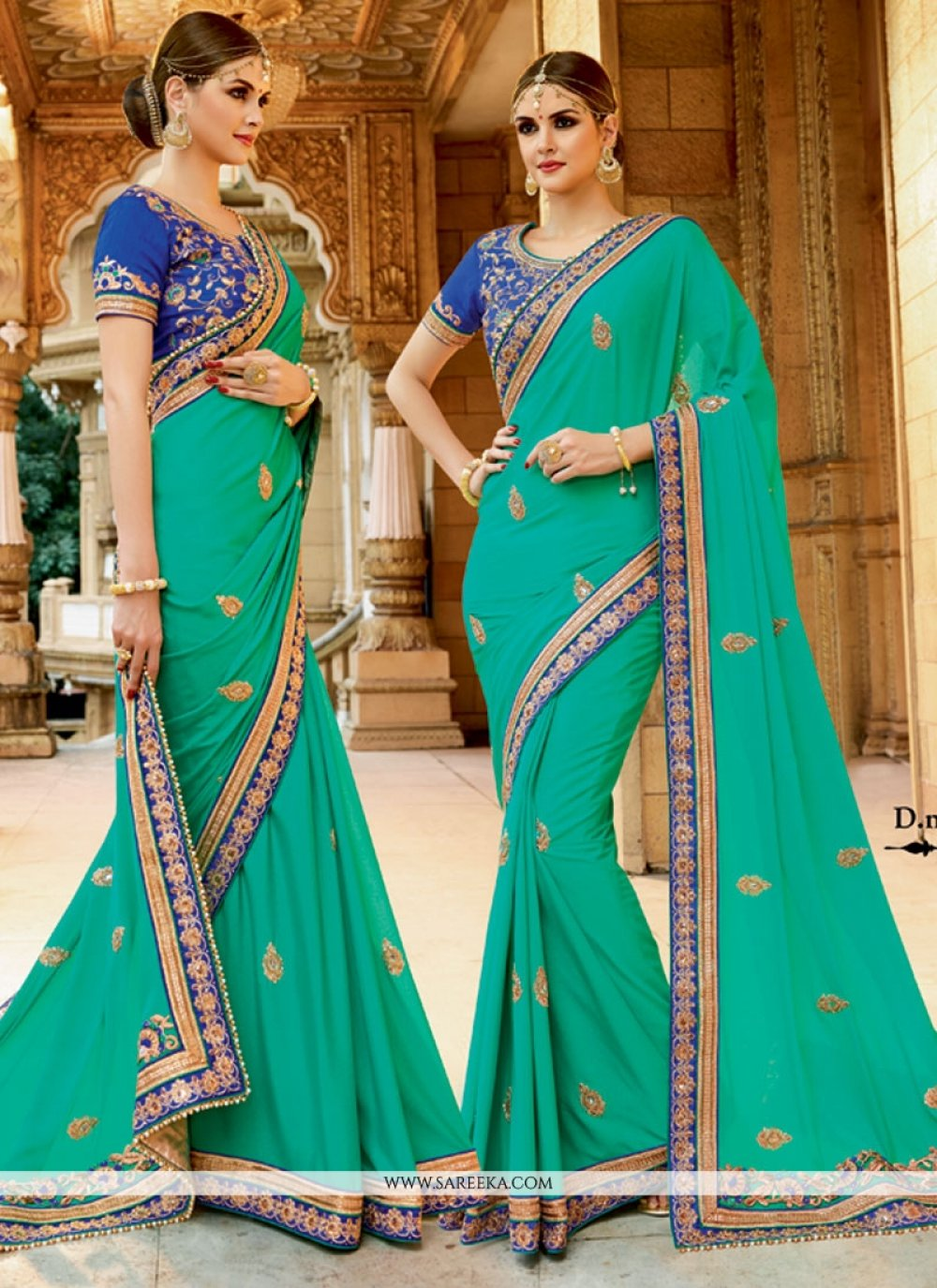 Georgette Sea Green Patch Border Work Designer Traditional Sarees