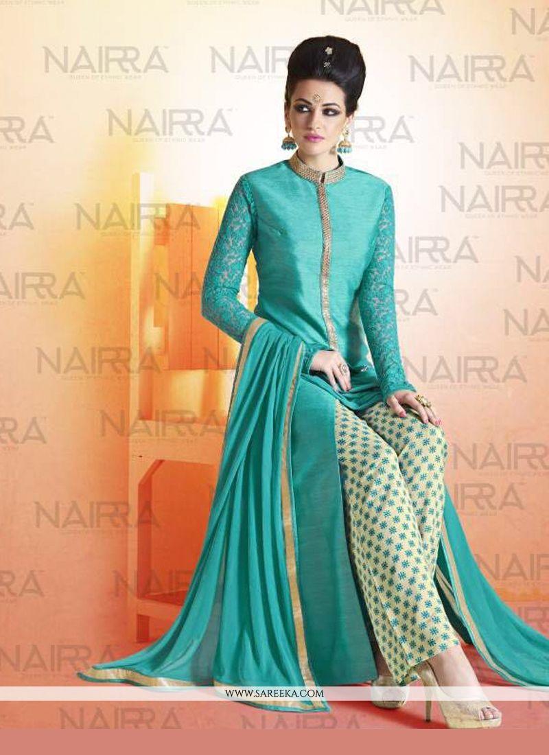 Lace Work Bhagalpuri Silk Turquoise Designer Suit -