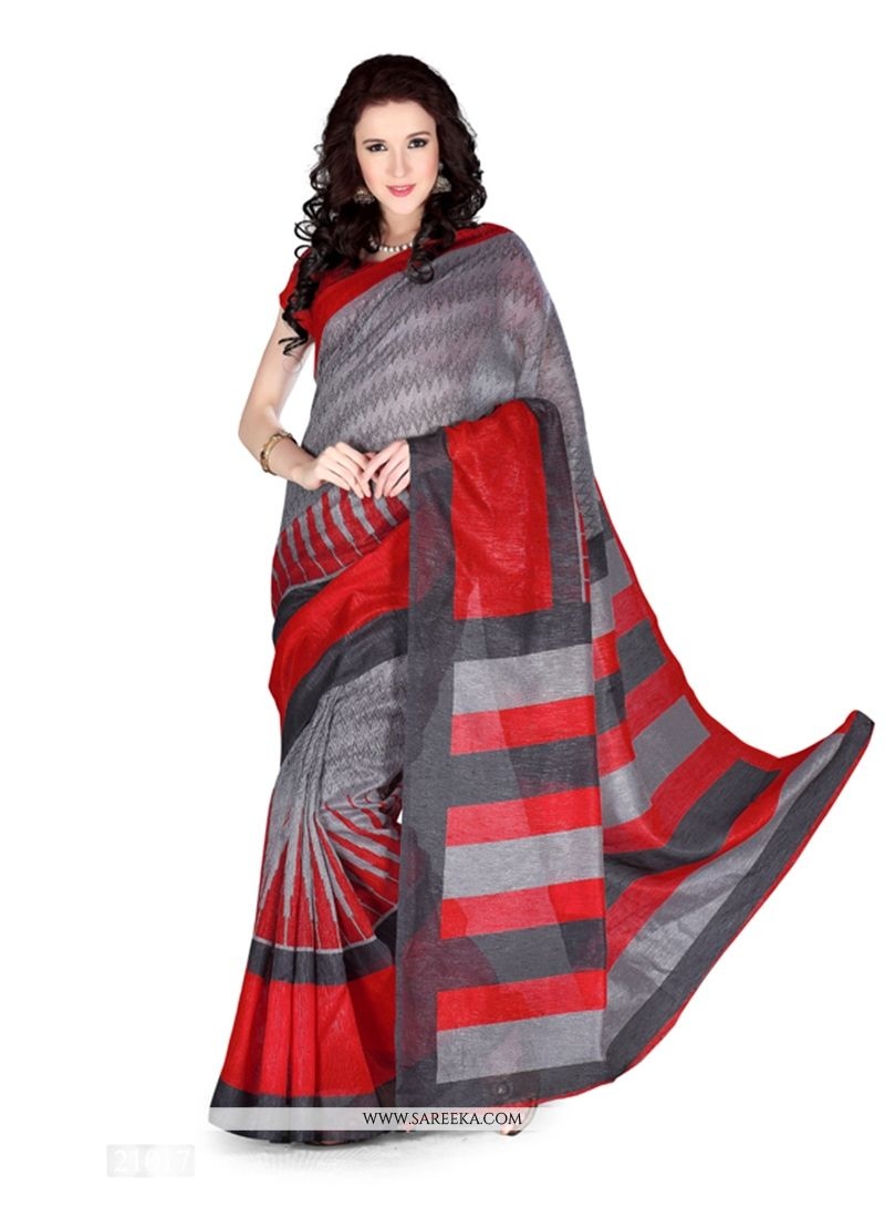 Multi Colour Print Work Art Silk Casual Saree