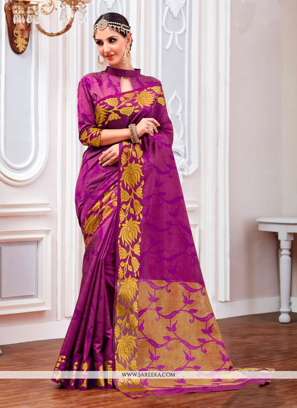Purple Print Work Jacquard Designer Saree