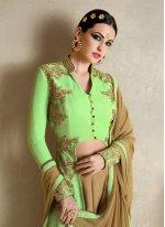 Embroidered Work Georgette Green Designer Palazzo Salwar Suit