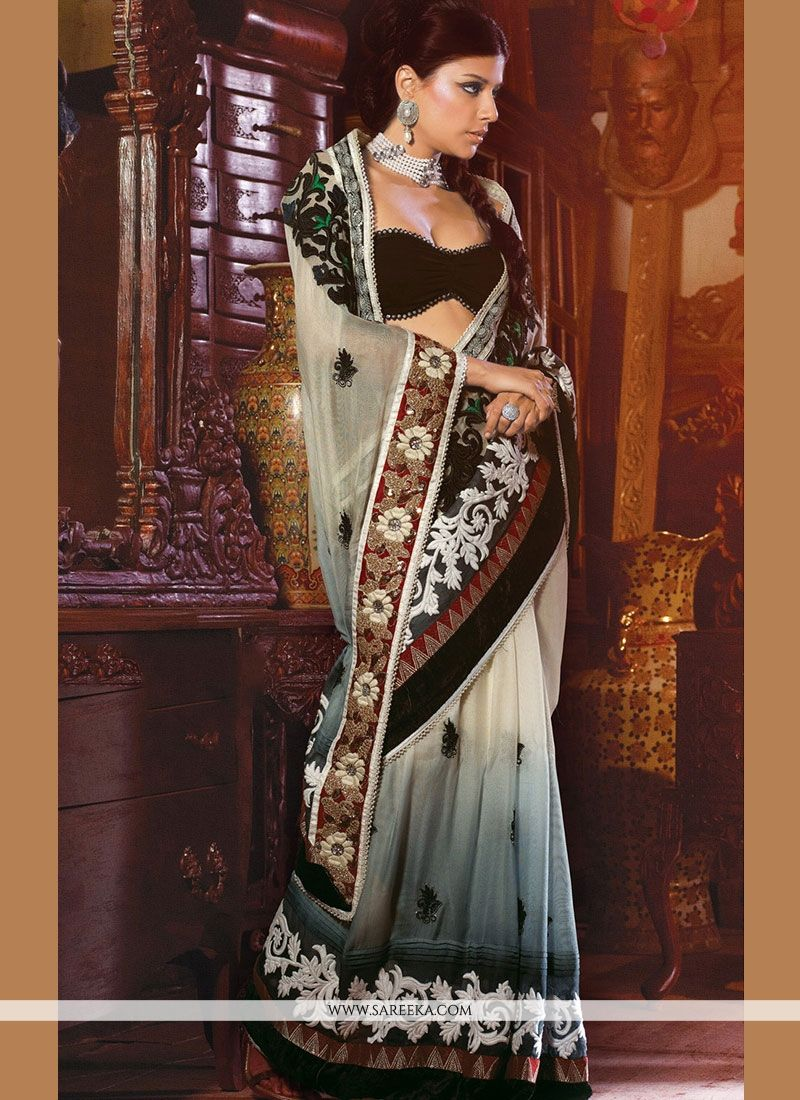 Net Grey and Off White Embroidered Work Designer Saree