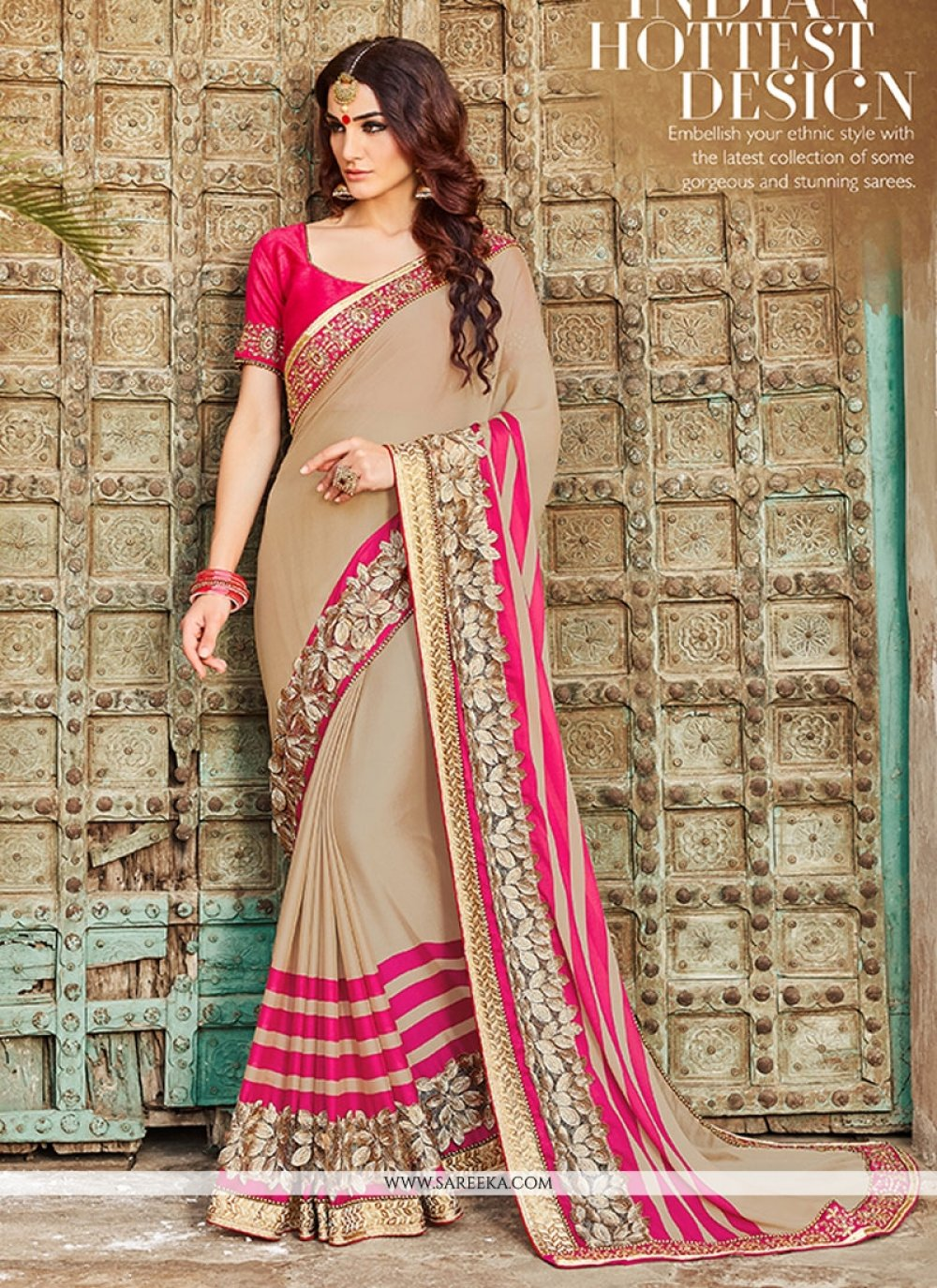 Resham Work Georgette Designer Saree