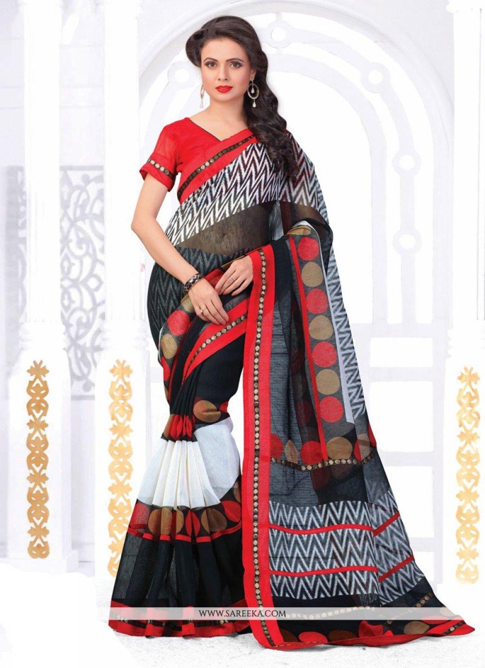 Silk Black Print Work Casual Saree