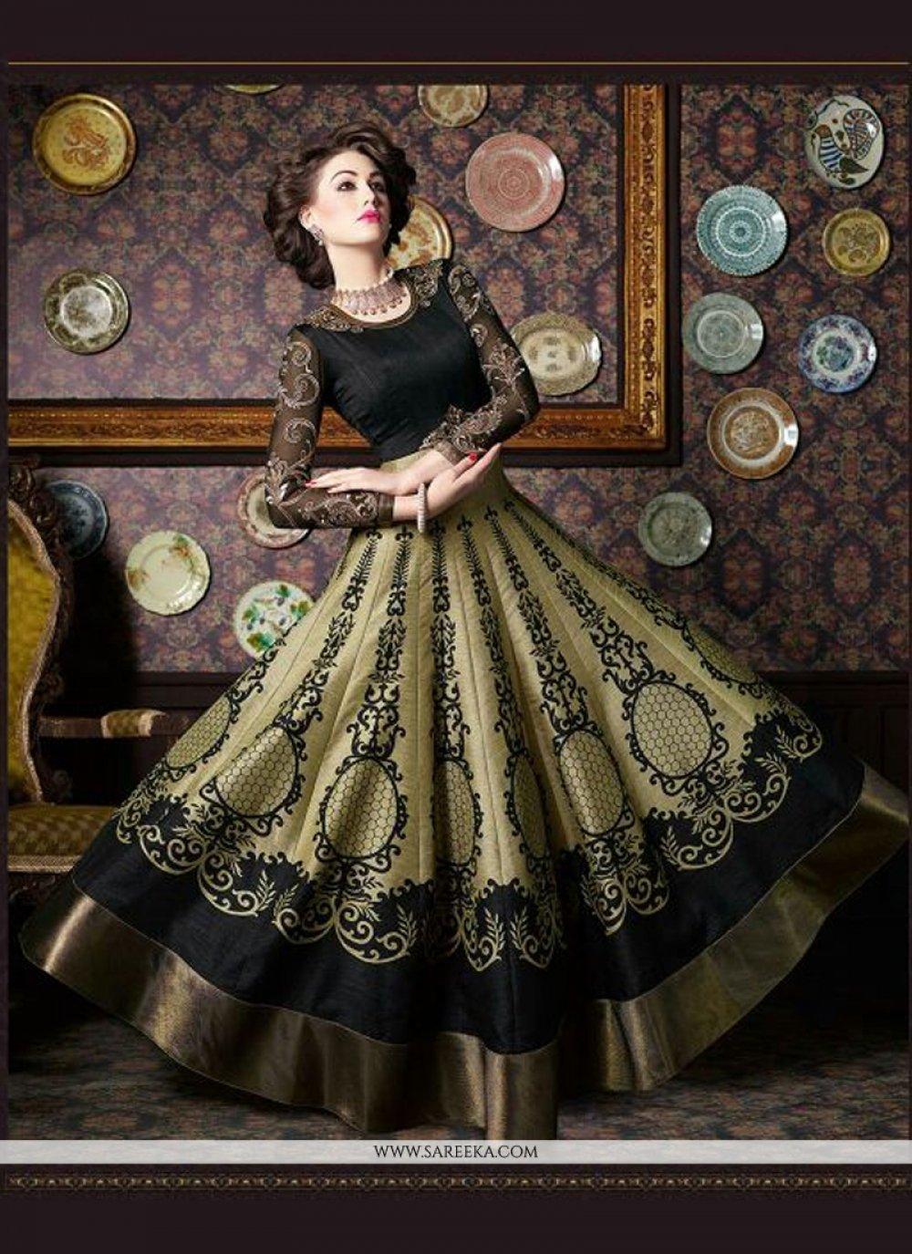 Silk Print Work Anarkali Salwar Kameez