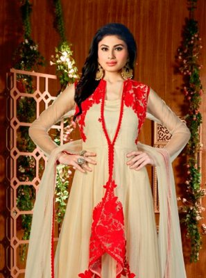 Beige Embroidered Work Net Designer Suit