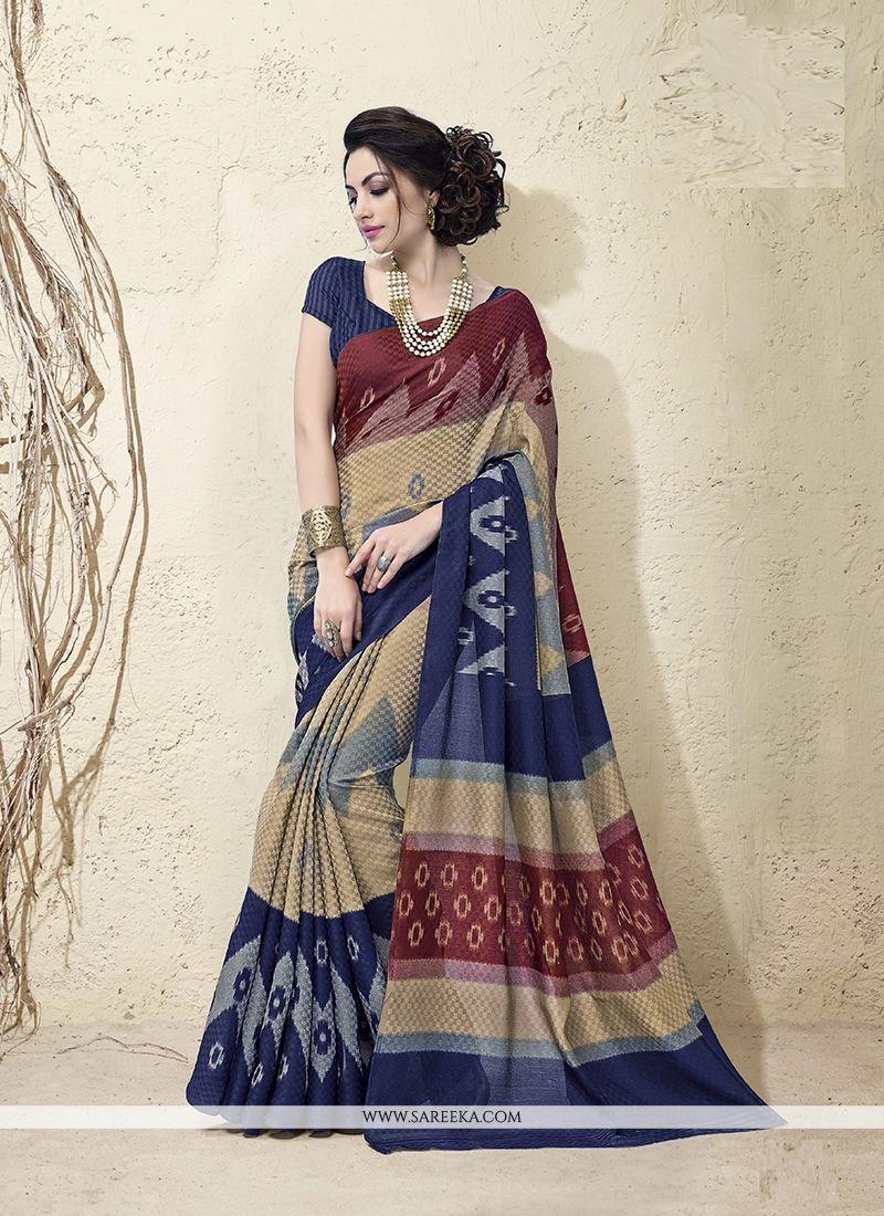 Bhagalpuri Silk Multi Colour Casual Saree