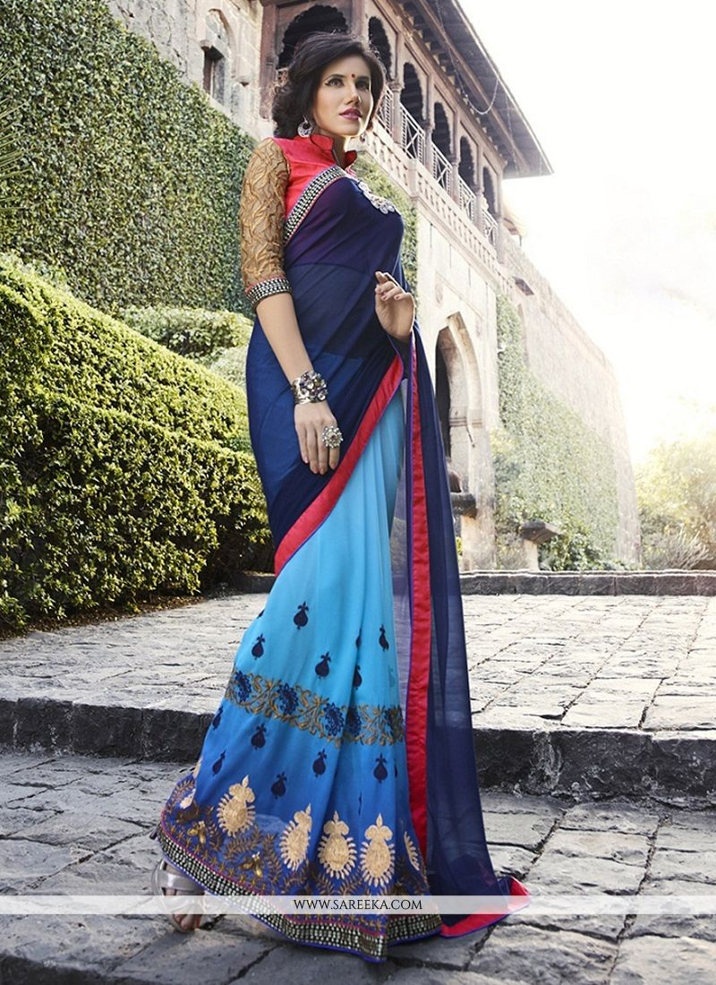 Georgette Blue Embroidered Work Classic Designer Saree