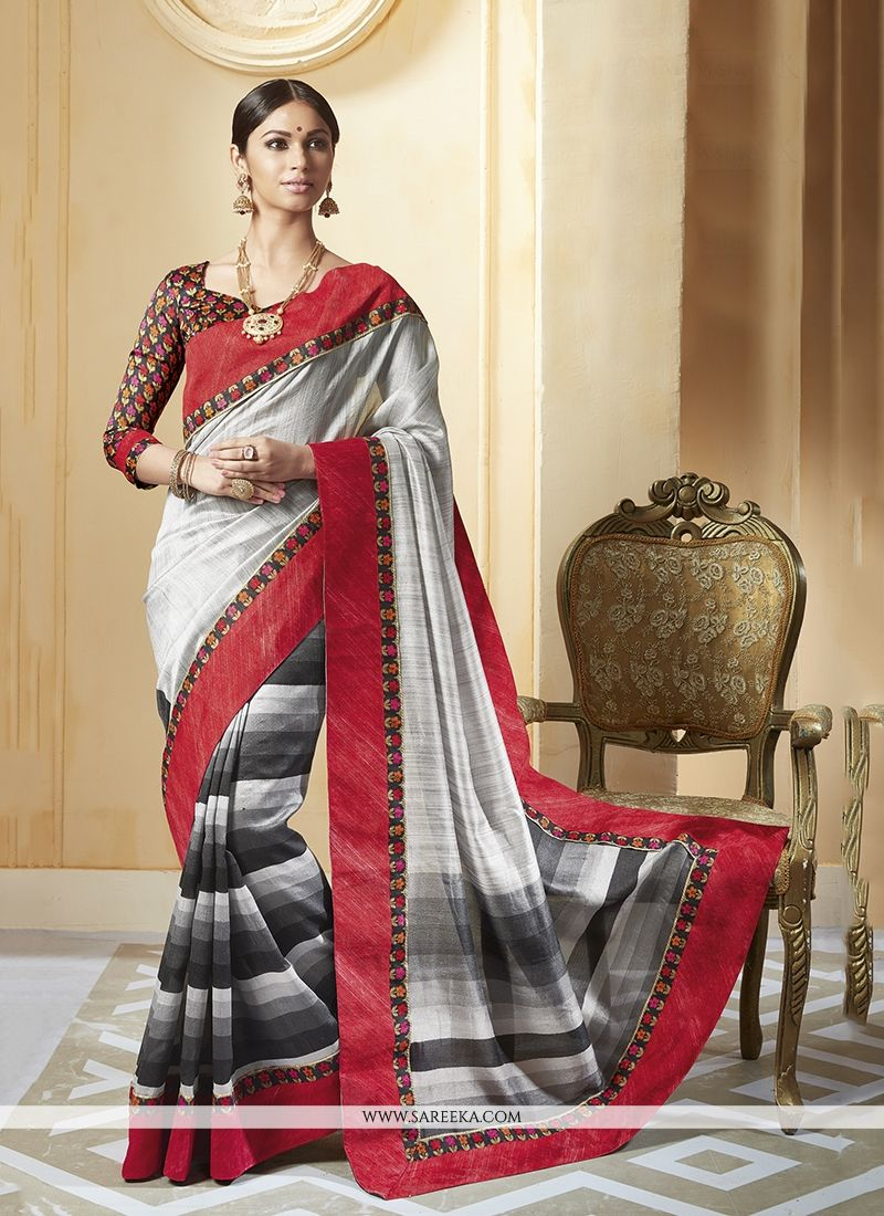 Multi Colour Patch Border Work Printed Saree
