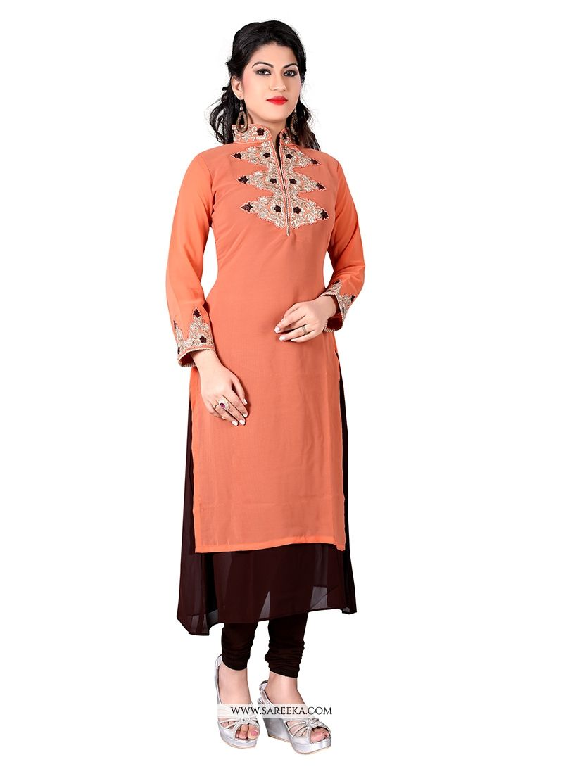 Buy Peach Designer Kurti Online  India - Kurtis