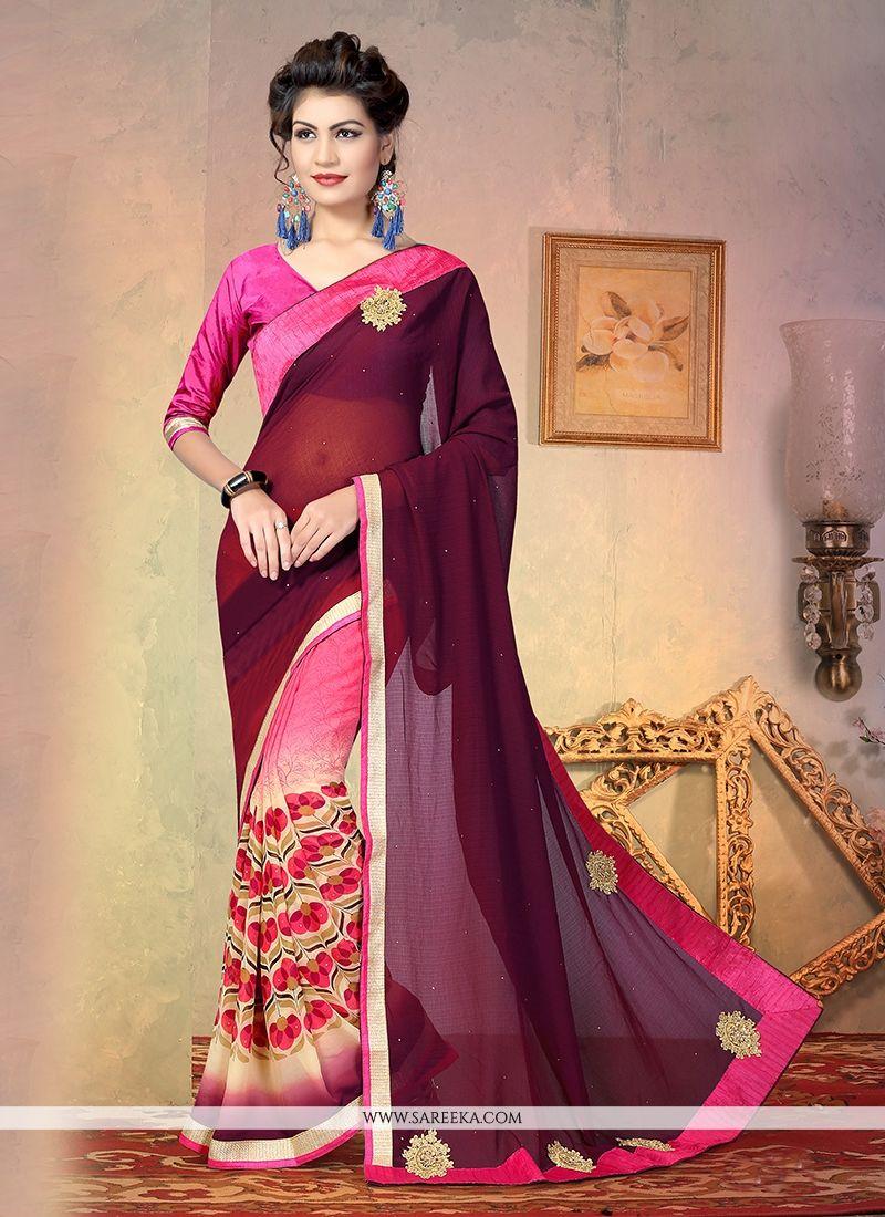 Print Work Georgette Designer Half N Half saree
