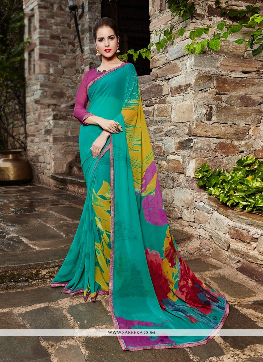 Georgette Print Work Printed Saree