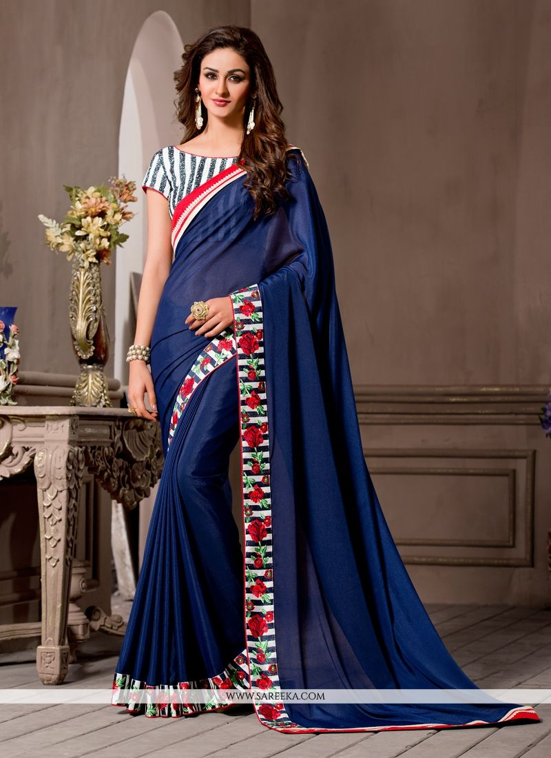 Navy Blue Embroidered Work Georgette Designer Saree