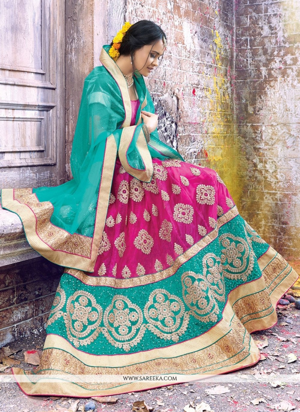 Net Hot Pink and Turquoise Patch Border Work A Line Lehenga Choli