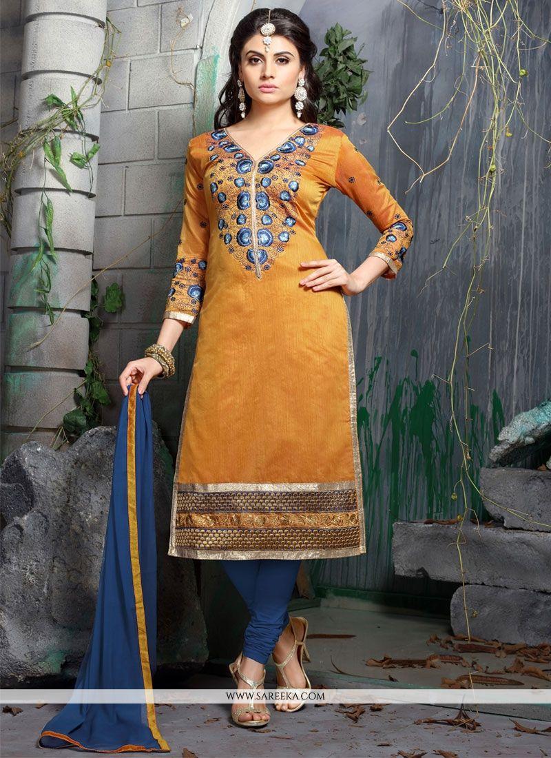 Orange Chanderi Cotton Churidar Designer Suit