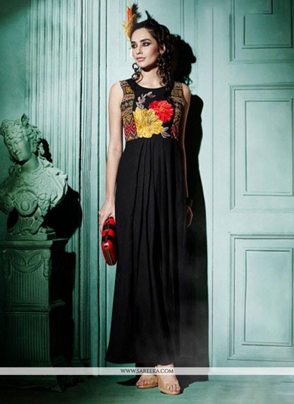 Resham Work Georgette Black Designer Kurti