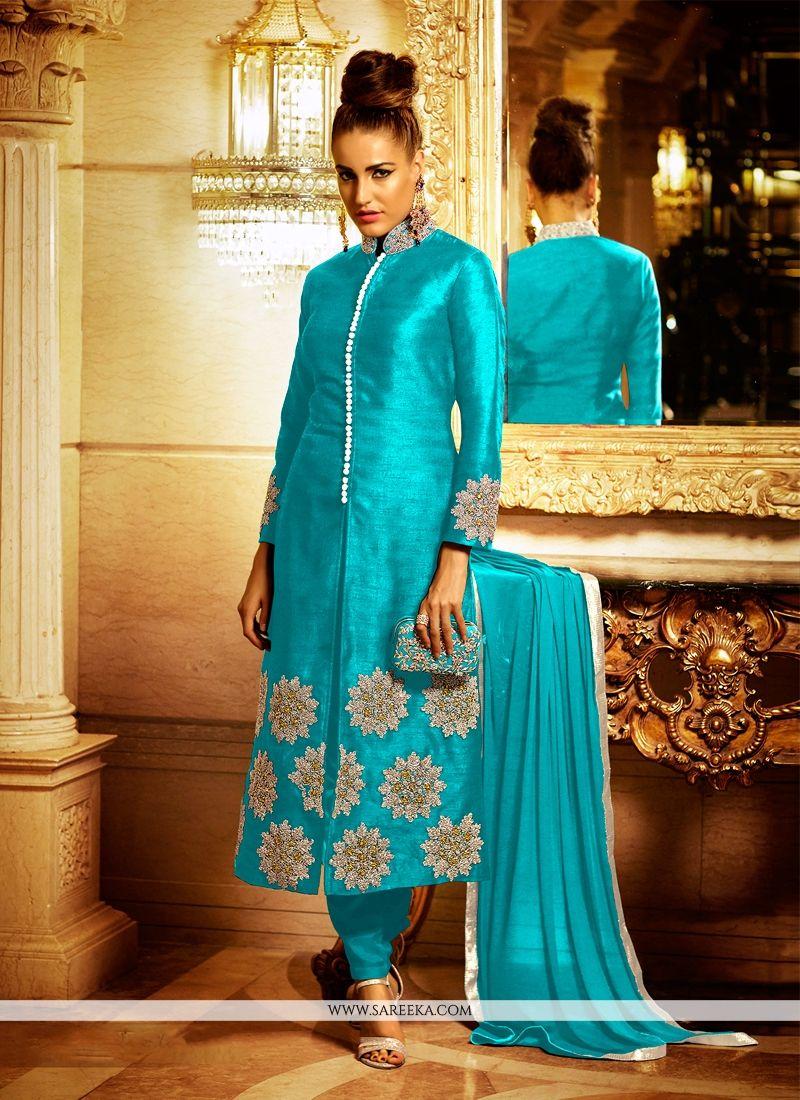 Turquoise Lace Work Bhagalpuri Silk Churidar Designer Suit