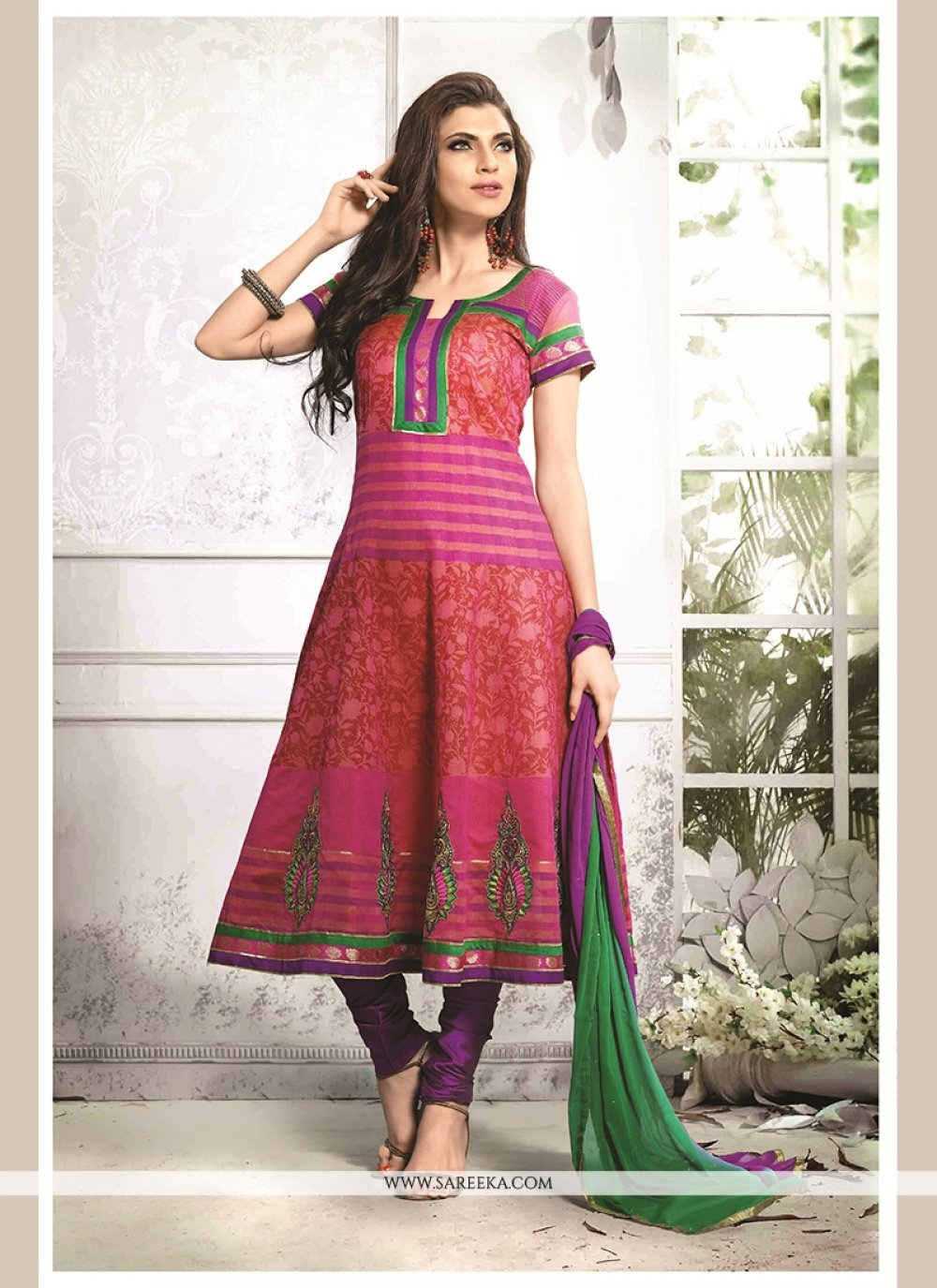 Chanderi Cotton Multi Colour Embroidered Work Readymade Suit