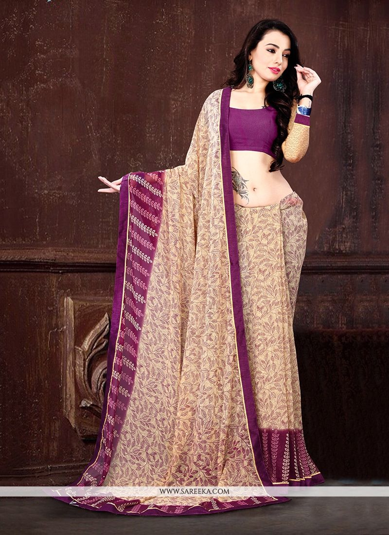 Georgette Beige Casual Saree