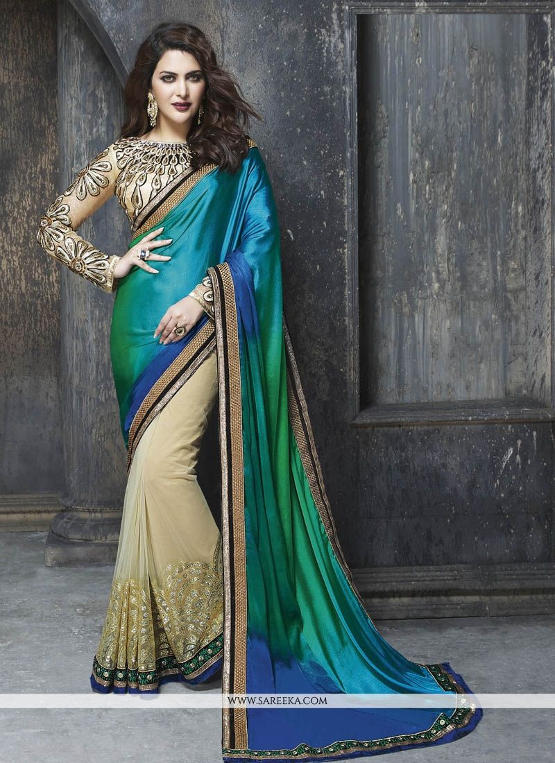 Multi Colour Embroidered Work Satin Classic Designer Saree