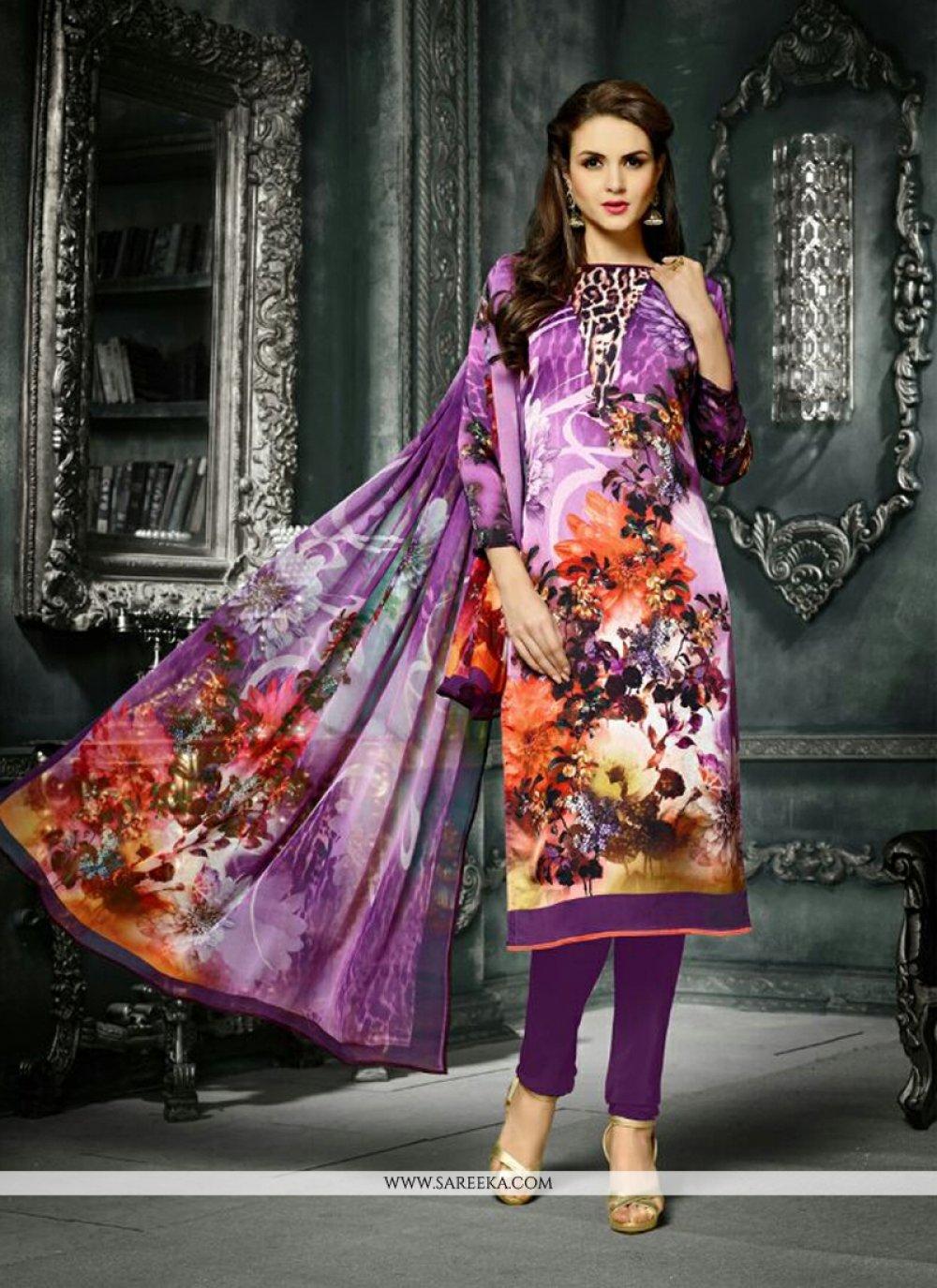 Purple Print Work Crepe Silk Churidar Designer Suit