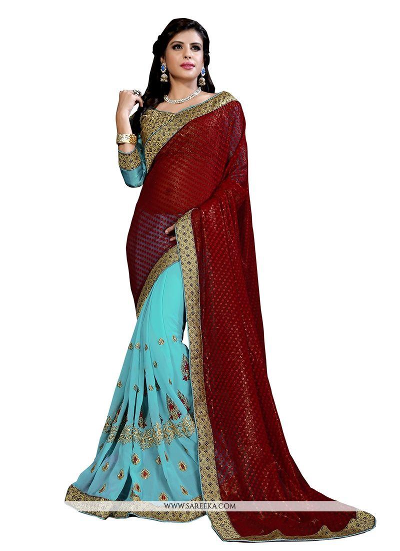 Shimmer Georgette Turquoise Designer Half N Half saree