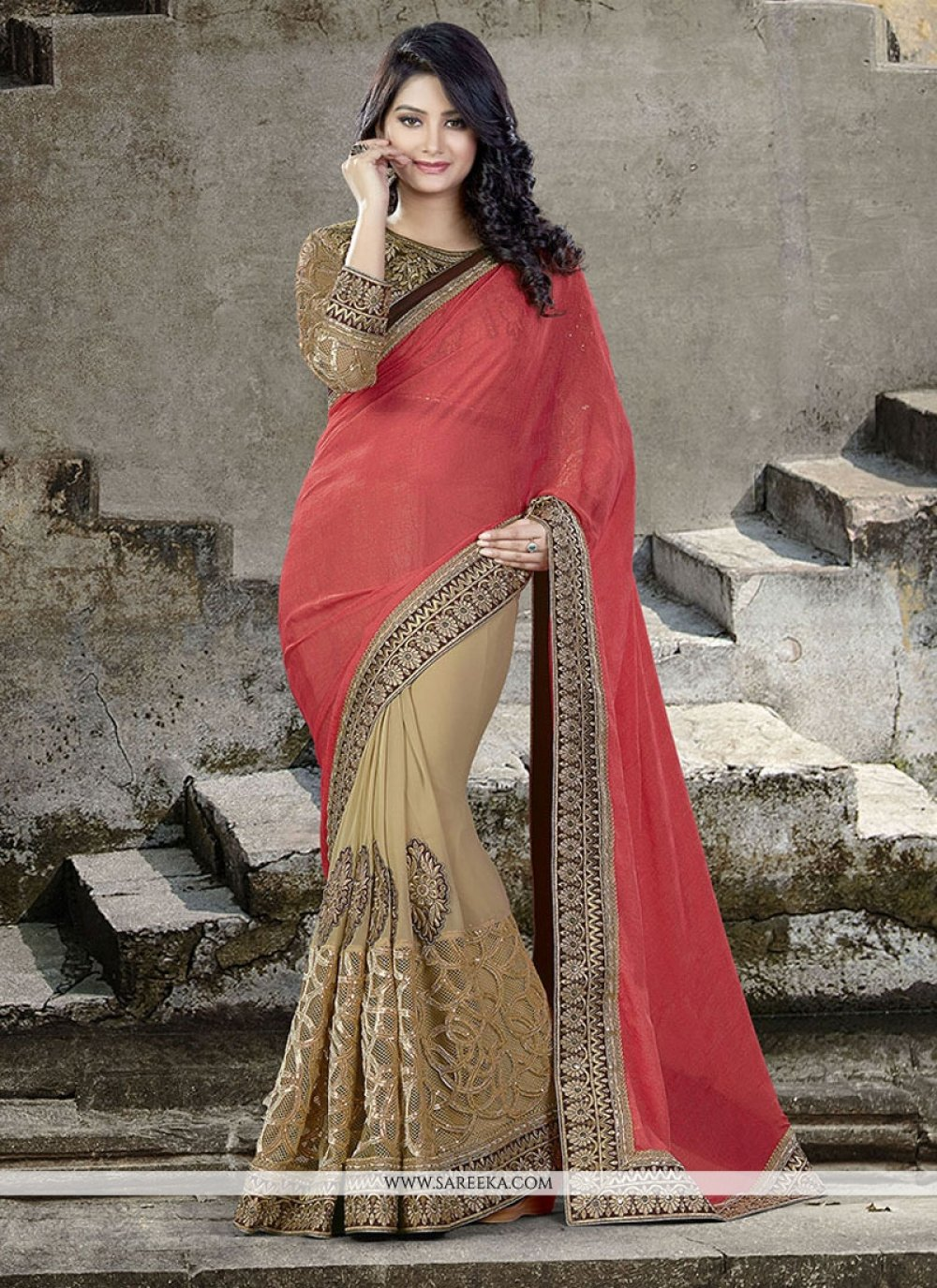 Viscose Embroidered Work Traditional  Saree