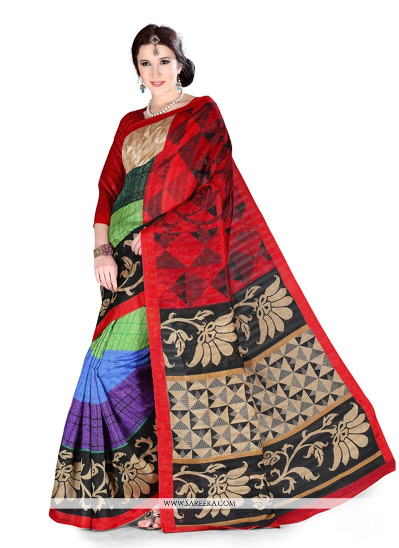 Art Silk Print Work Casual Saree