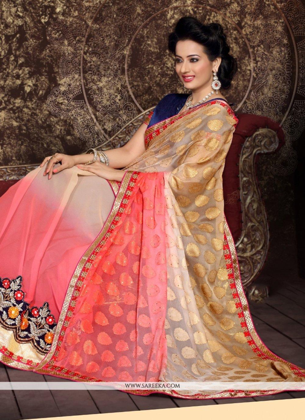 Embroidered Work Multi Colour Designer Half N Half saree